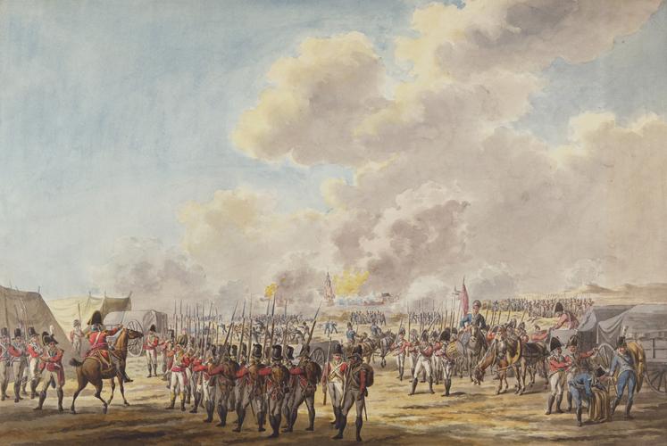 JAN ANTHONIE LANGENDIJK (1780-1818) The Bombardment of Flushing, 13/14 Aug 1809. drawn 1809